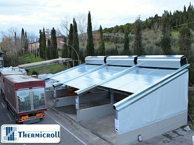 le chiusure industriali thermicroll diventano tettoie mobili avvolgibili
