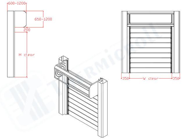 disegni tecnici delle porte rapide avvolgibili modello spiral door iso 40